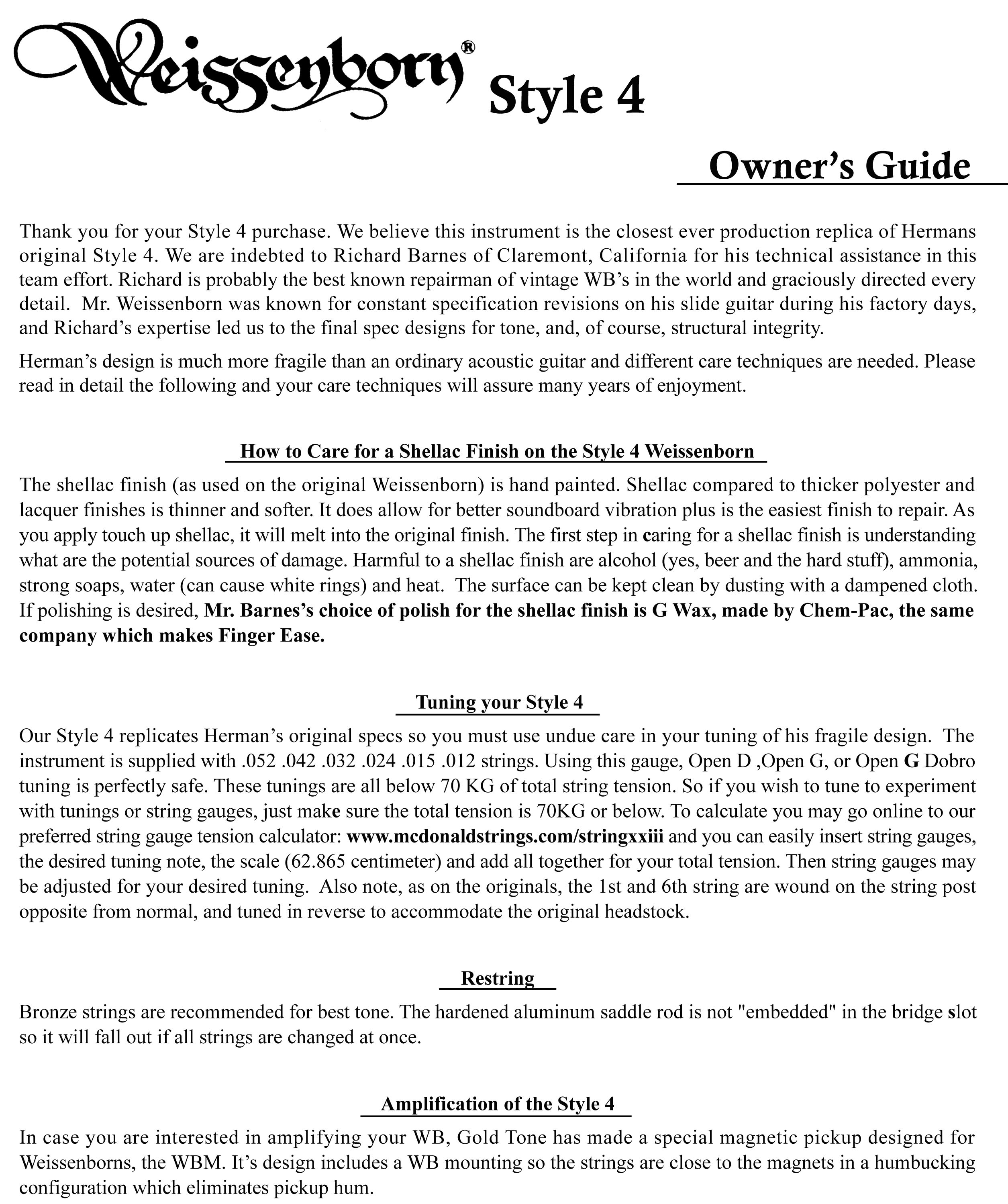 ... MicroBass String Instructions · Weissenborn Owner's Guide ...
