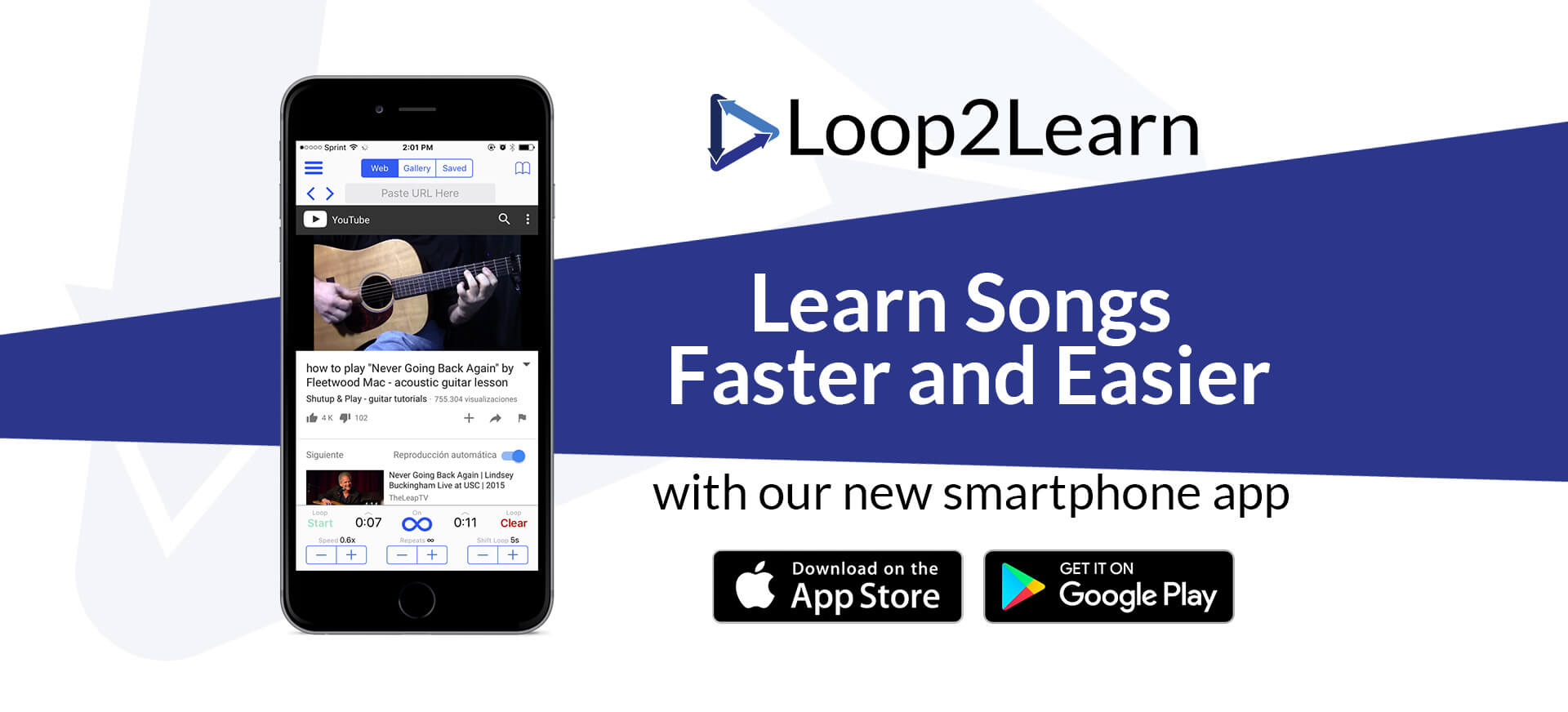 Learn Songs Faster and Easier. Loop2Learn makes learning songs from Youtube a breeze