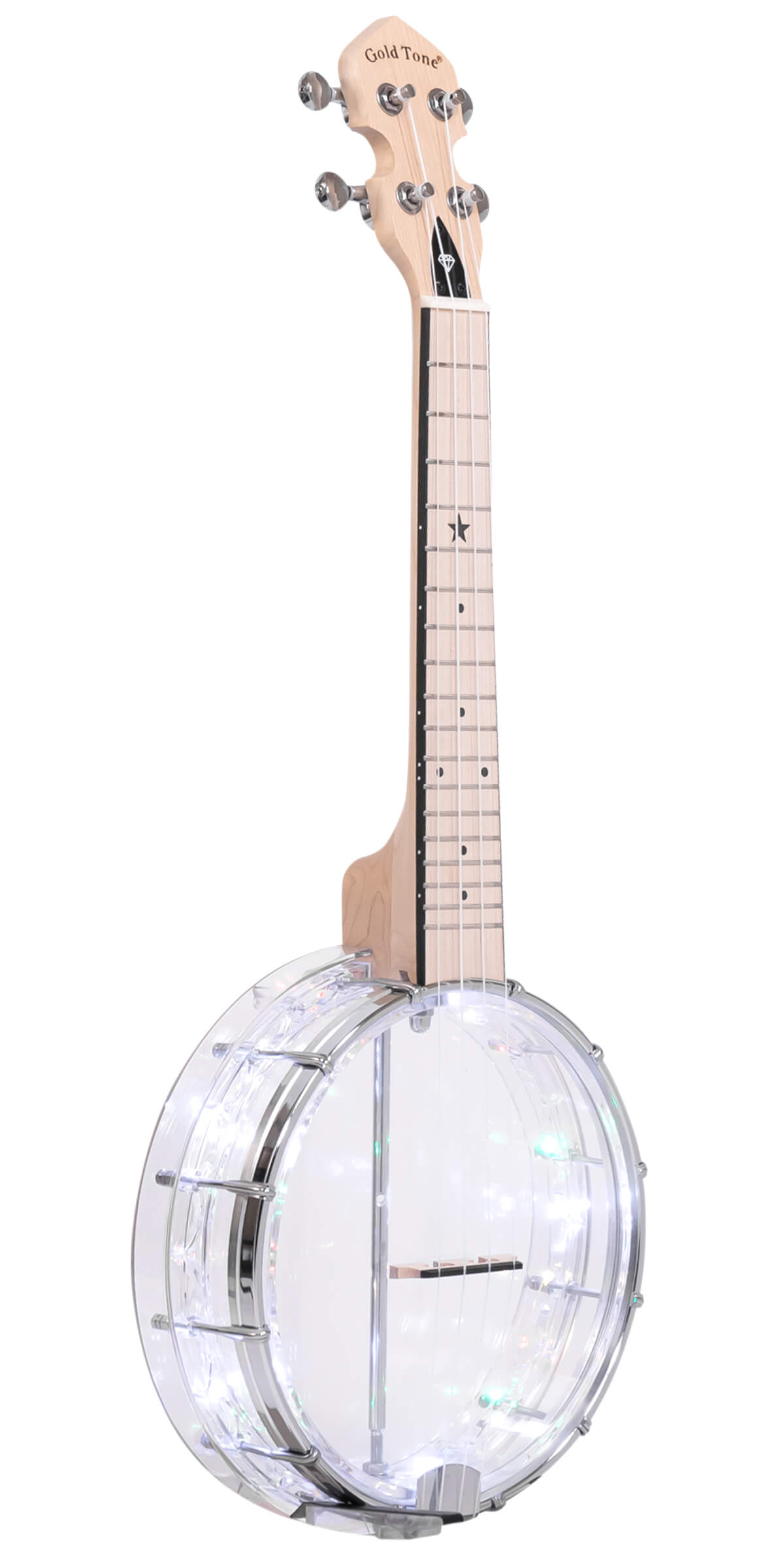 Lightup Little Gem (Diamond): See-Through Banjo-Ukuleles with Lights