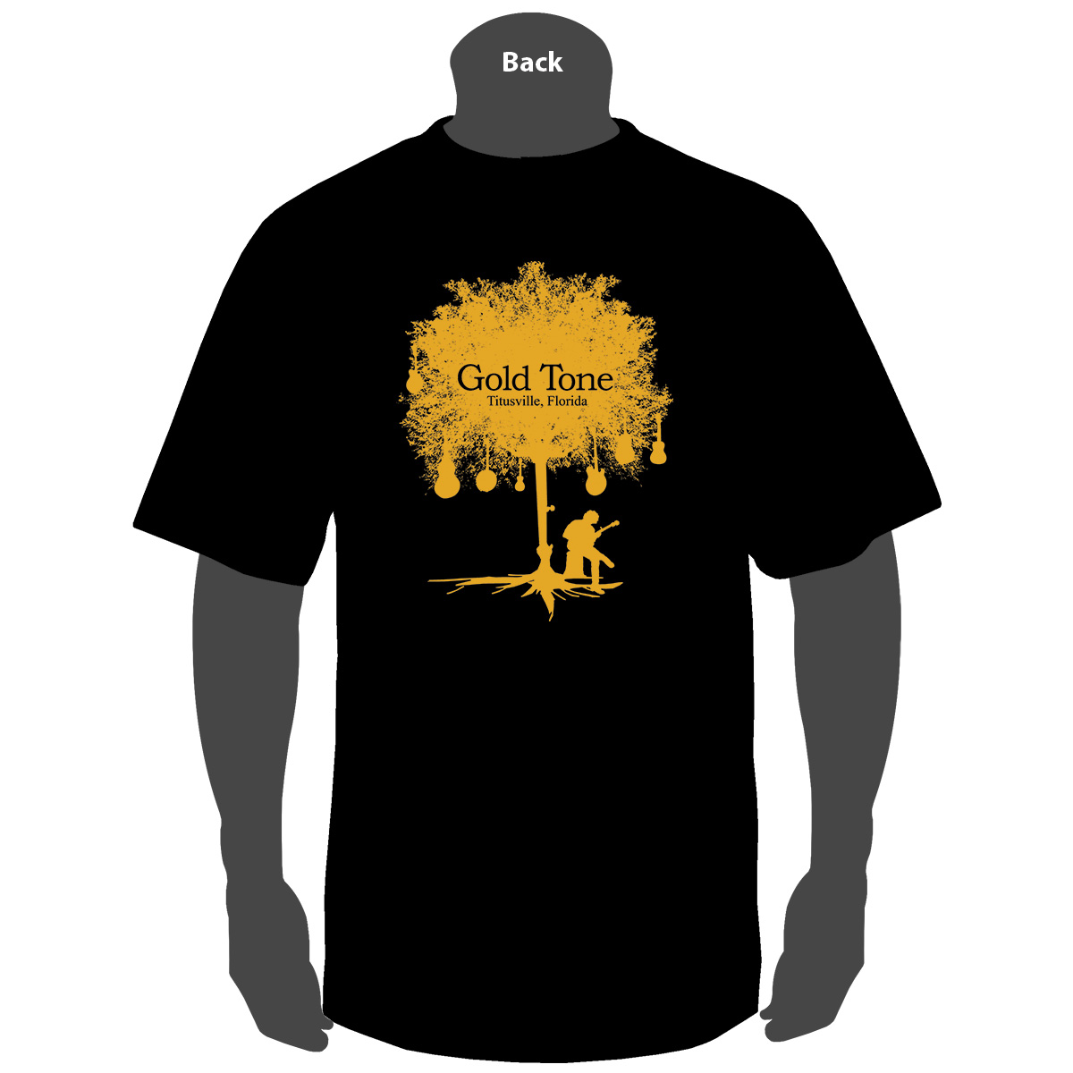 TEE-S: Gold Tone 'Tree of Life' (Black)