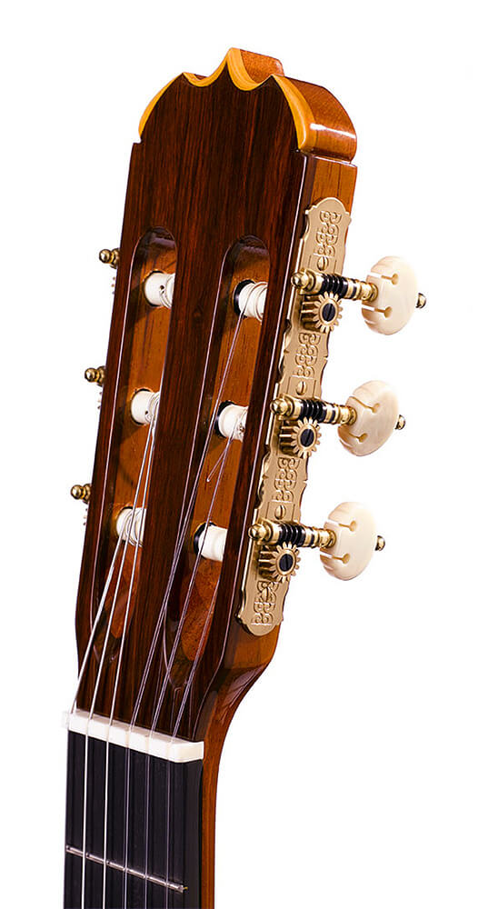 The Headstock of the Handcrafted line of Ramirez guitars